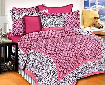 Amazing Panipat Handloom King Size Pink Bed Sheet
