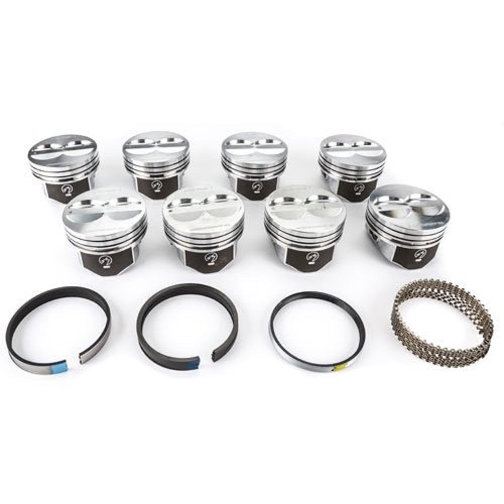 SPEED PRO Chevy 400 Hypereutectic Dish Top Piston+MOLY Ring Kit use 5.7 rods Your Choice of over sizes!! .020 Bore 4.145