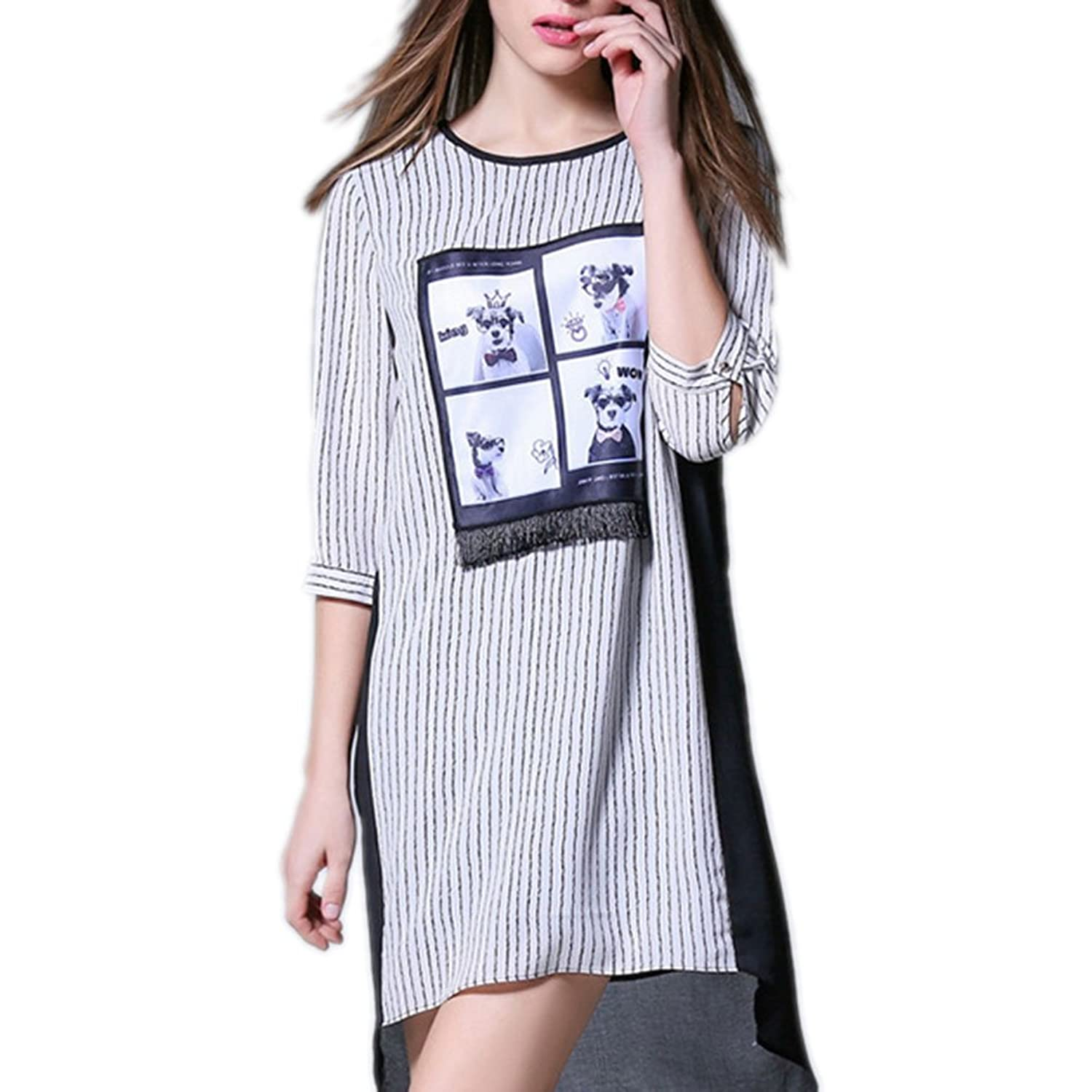 Pinkyee Women's Black And White Striped Tassel Adorned Casual Loose Dress