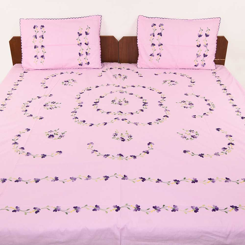 IndianShelf Handmade Decorative Light Pink Purple Bed Linen Petals Green Leaves Bedcover Embroidered Bedsheet