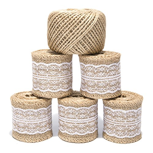 Burlap Ribbon Roll with White Lace Trims ZoraSelena Natural Burlap Fabric and 295ft Jute Twine for Rustic Wedding Decorations DIY Crafts Jute Roll 78.7 inches Each,5 Packs ()