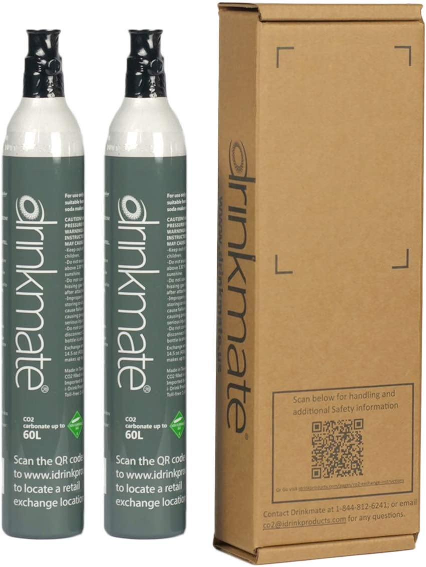 Drinkmate 60L CO2 Cylinders, Compatible with SodaStream (14.5oz) - 2 Pack