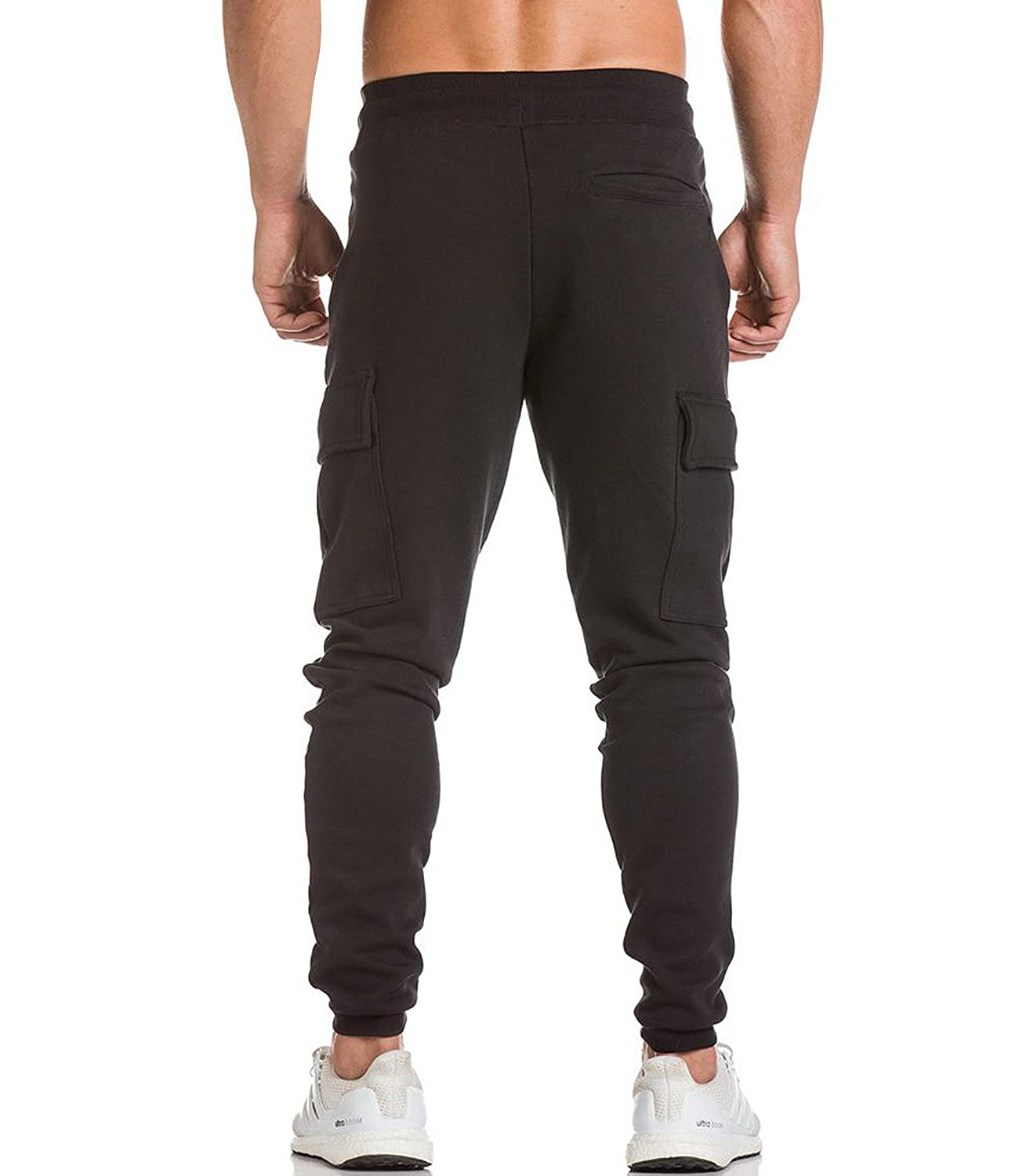 cbc227d72 Amazon.com  Men s Cargo Jogger Pants Workout Sweatpants Casual Trousers ( Black
