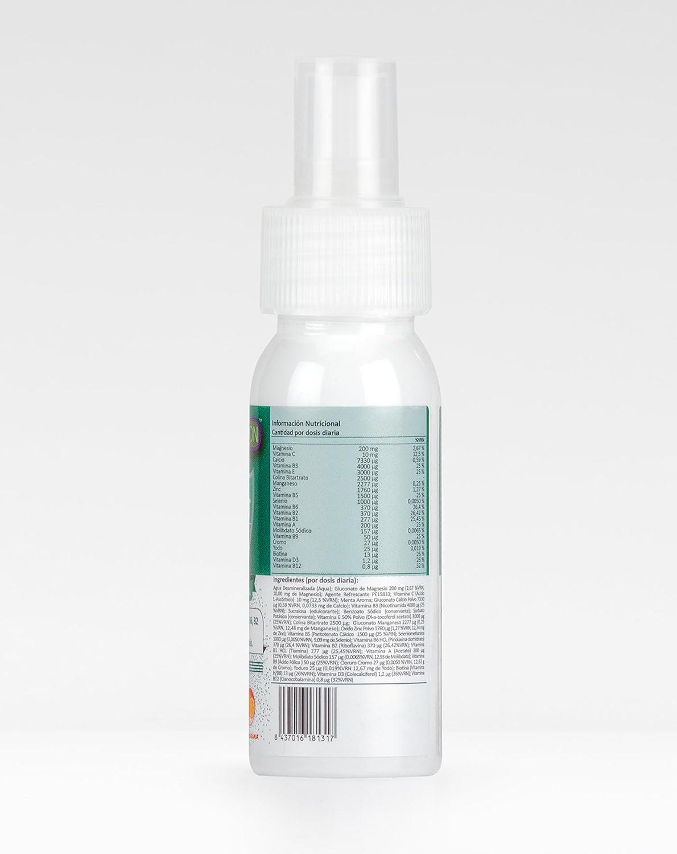Completo y Potente Multivitamínico en spray sublingual para niños con Vitaminas C, B3, E, B5, B6, B2, B1, A, B9, D3 y B12, Calcio y Zinc que ayudan al ...