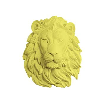 Amazon.com: Wall Charmers Lion in Yellow - Faux Head Bust Mounted ...