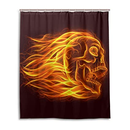 Wamika Day Of The Dead Shower CurtainFire Skull Head Bath Curtain Waterproof Liner