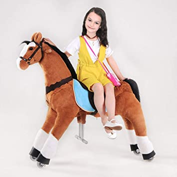 Action Pony Toy UFREE Horse Great Gift for Boys Ride on Large 44 for Children 6 Years Old to Adult. Black Mane and Tail