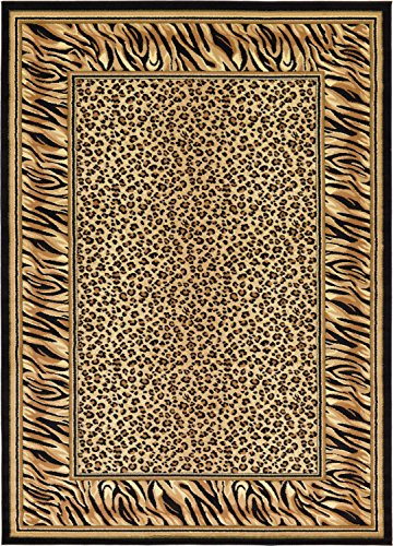 - Unique Loom Wildlife Collection Cheetah Border Animal Print Light Brown Area Rug (7' 0 x 10' 0)