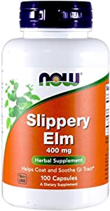 Now Foods Slippery Elm 400mg, Capsules, 100-Count (Pack of 2)
