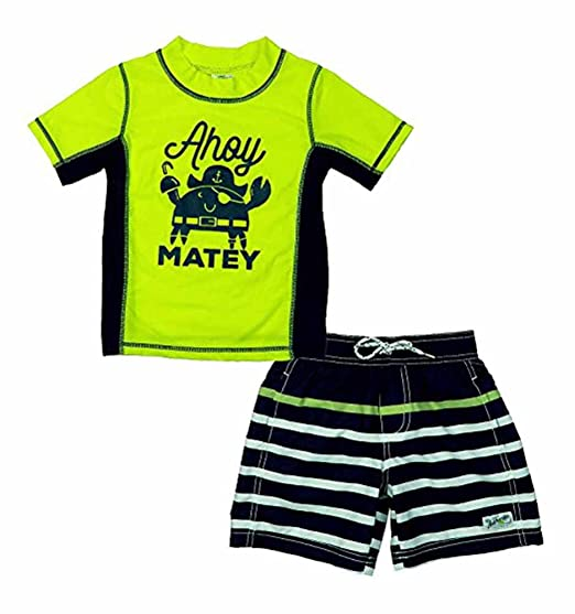 f9b638de5a Amazon.com: Carter's Baby Boys' Ahoy Matey Rashguard Set, Yellow, 12 ...