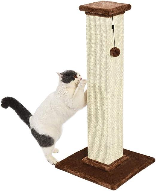AmazonBasics - Poste rascador para gatos de primera calidad, alto y grande, 40,6x88,9x40,6 cm, alfombra marrón: Amazon.es: Productos para mascotas
