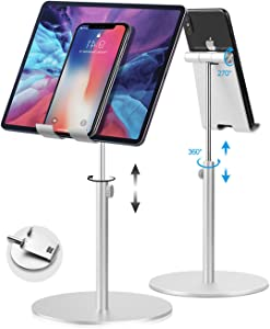 Tablet Stand Adjustable, Senhomtog Tablet Stand, Cell Phone Stand Tablet Holder, Compatible with Tablet Such as Pad Pro 9.7, 10.5,12.9 Air Mini 4 3 2, Kindle, Nexus, Tab, E-Reader (4-14'') - (Silver)