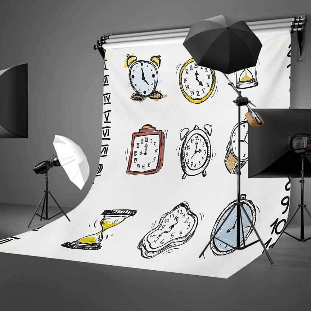 10x12 FT Backdrop Photographers,Collection of Vintage Style Watches and Doodled Clocks Hand Drawn Illustration Background for Baby Shower Birthday Wedding Bridal Shower Party Decoration Photo Studio