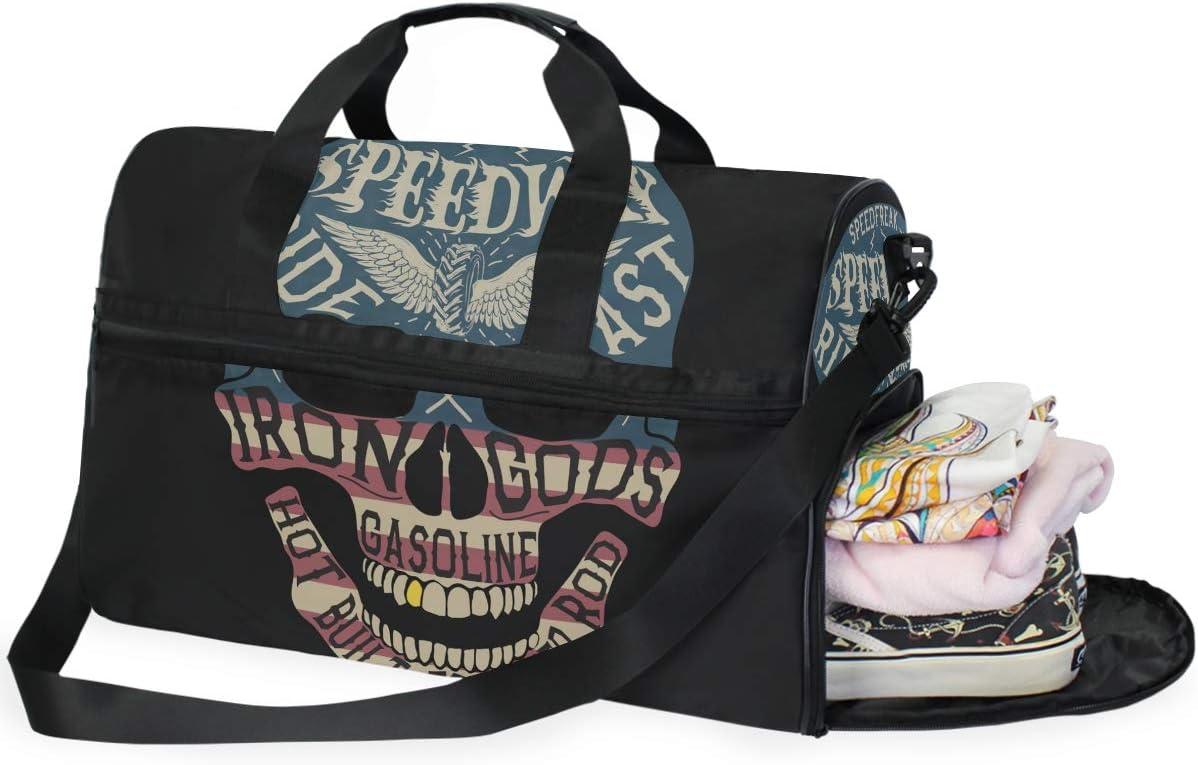 FANTAZIO Alphabet And Pattern Skull Print Sports Duffle Bag Gym Bag Travel Duffel with Adjustable Strap
