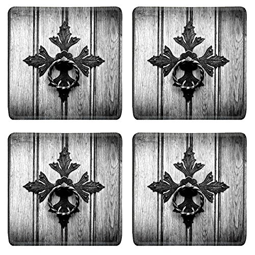 liili-natural-rubber-square-coasters-image-id-31781531-antique-door-knocker-on-old-door-black-and-wh