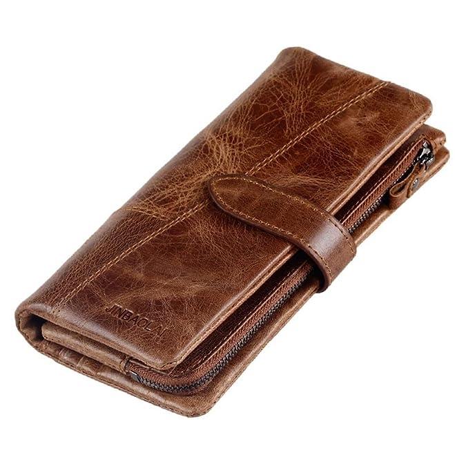 JINBAOLAI-MSKAY Cuero genuino de lujo del zurriago Cartera Triple multifunción Vintage monedero Bolso largo del recorrido para los teléfonos celulares, ...
