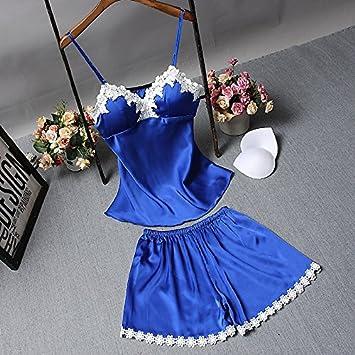 Wanglele Tirantes Pijamas Verano con Bra Bata De Seda Lace Shorts Traje De Dos Piezas Estudiante Bata, L, Azul: Amazon.es: Hogar