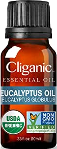Cliganic USDA Organic Eucalyptus Essential Oil, 100% Pure | Natural Aromatherapy Oil for Diffuser/Humidifier, Steam Distilled (10ml) | Guarantee