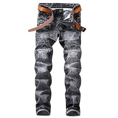 Jeans Slim en Jean pour Homme, Jean Droite, Slim Fit Coupe Droit Jeans  Stretch, Jean Skinny sans Ceinture  Amazon.fr  Vêtements et accessoires c97a92e0d14