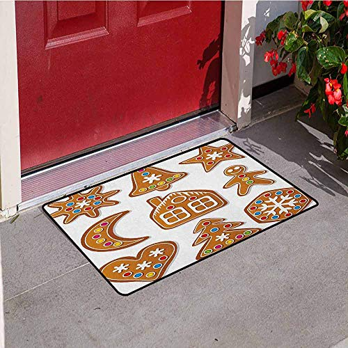 GloriaJohnson Gingerbread Man Welcome Door mat Set of Graphic Gingerbread Sugar Biscuits Colorful Dots and Bonbons Door mat is odorless and Durable W19.7 x L31.5 Inch Brown Multicolor