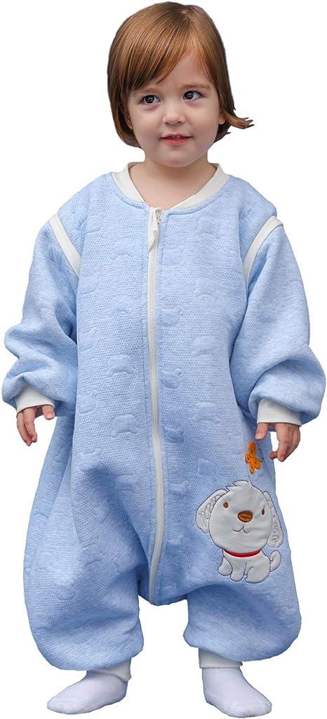 Saco de dormir para bebé, de manga larga, para invierno, con diseño de perro, saco de dormir con patas, de algodón, unisex, para todo el año azul azul Talla:12 - 36 Monate: