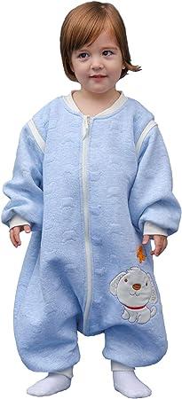 Pijama para bebé, de manga larga, para invierno, con diseño de perro, con pies, de algodón, para niños y niñas