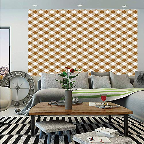 SoSung Brown Wall Mural,Texture of Tartan Cloth Pattern Geometric Design Decorations for Home Theme Print,Self-Adhesive Large Wallpaper for Home Decor 83x120 inches,Brown White