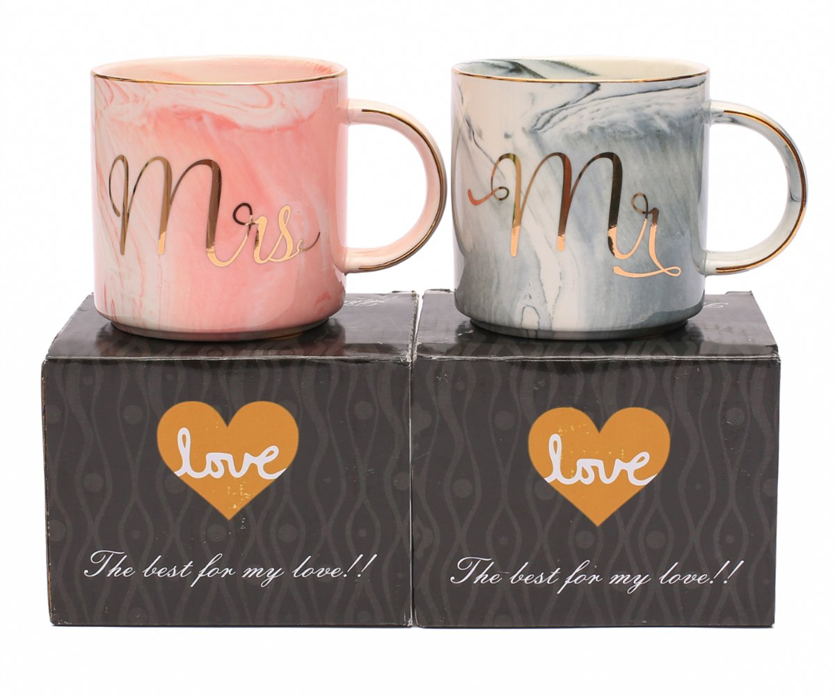 Luspan Mr and Mrs Couples Coffee Mugs - Unique Wedding Gift for Bride and Groom - Gift for Bridal Shower Engagement Wedding and Married Couples - Ceramic Marble Cups 13 oz(Grey and Pink)
