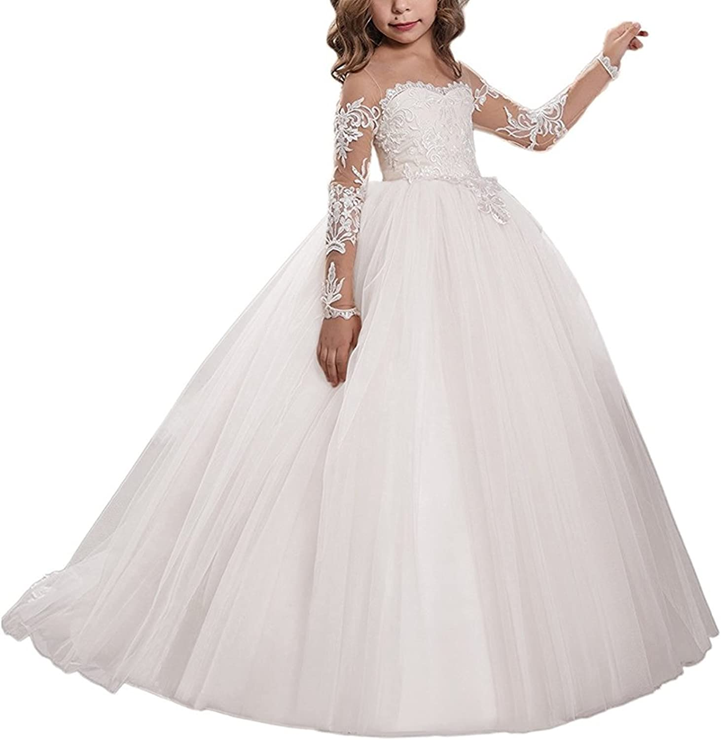 Amazon.com: Gzcdress Long Sleeve Puffy First Communion Dresses