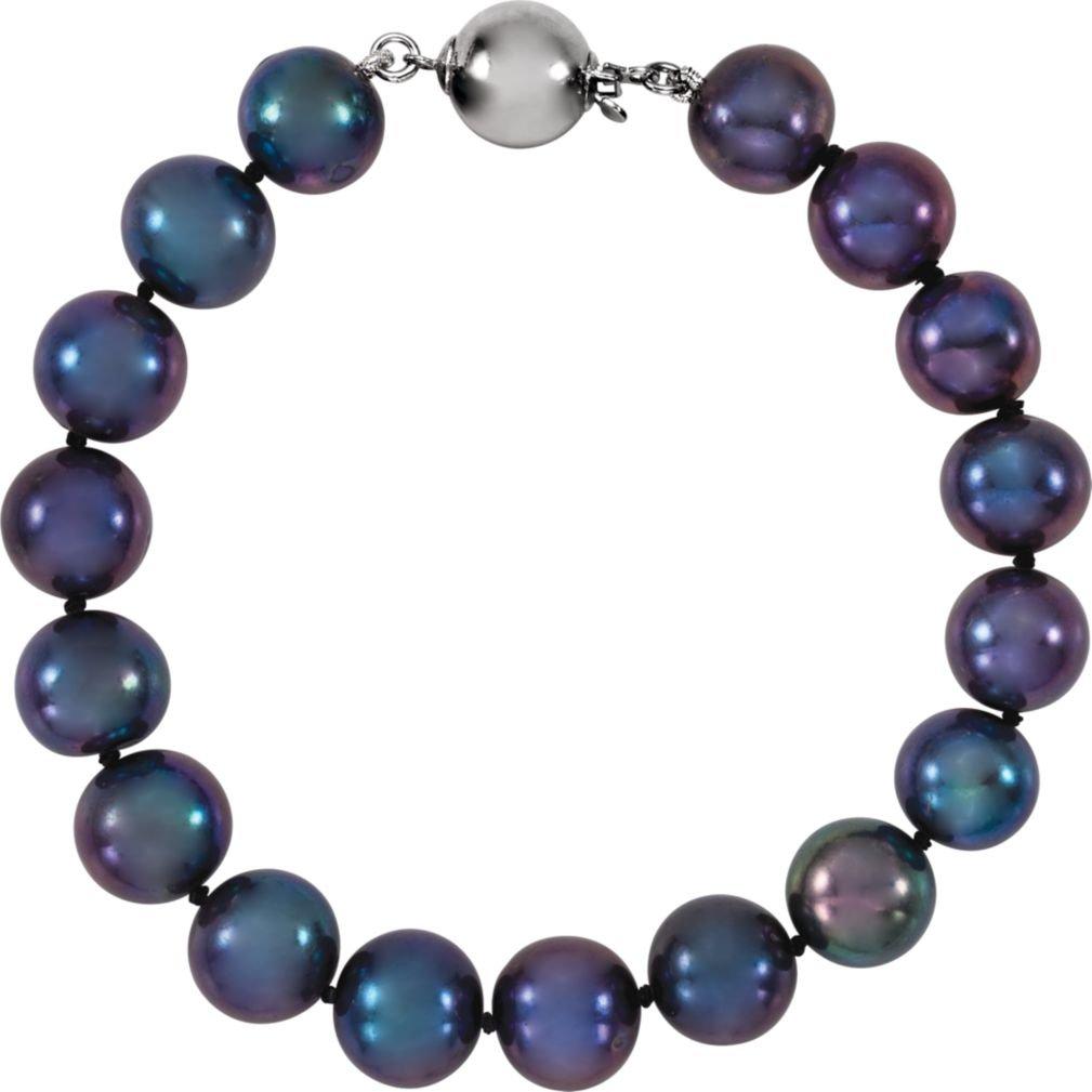 Black Freshwater Cultured Pearl Sterling Silver Bracelet, 7.75'' (10.0-11.0 MM)