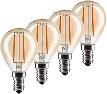 MÜLLER LICHT 400196 A+, 4er SET Retro LED Lampe Miniglobe ersetzt 17W, Glas, E14, gold , 4.5 x 4.5 x 7.7 cm