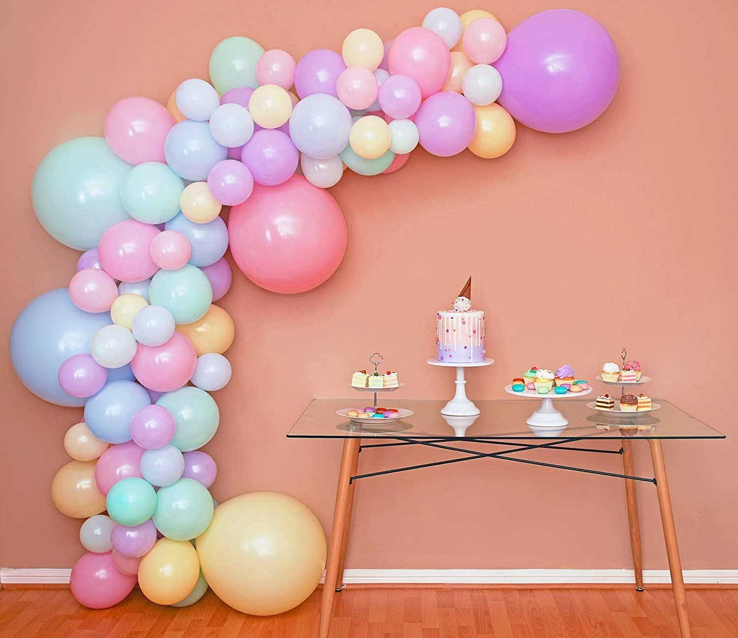 Mixed Sizes – Pastel Balloon Garland Kit & Balloon Arch – Small and Large Macaron Rainbow Balloons – Green, Purple, Yellow, Pink and Blue Balloons – Easter, Spring, Unicorn, Ice Cream Party Balloons