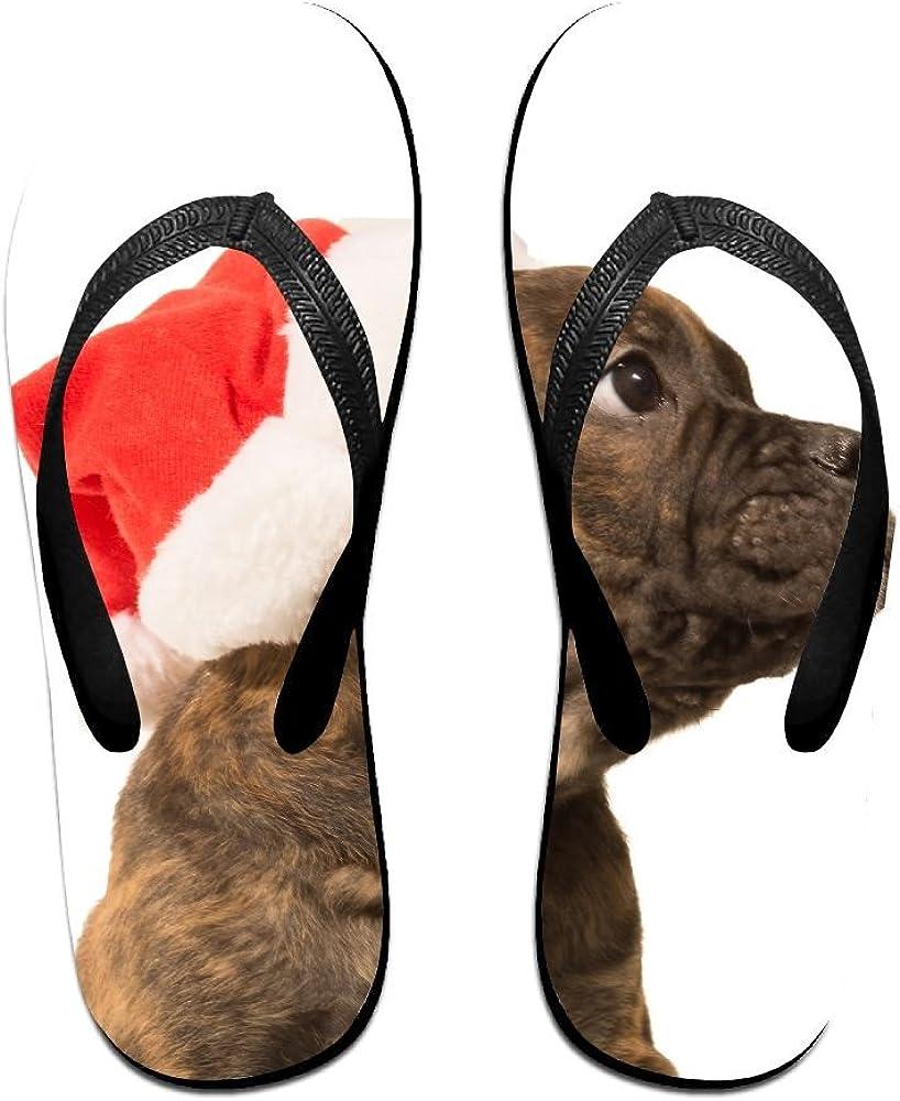 Couple Flip Flops Merry Christmas Puppy Print Chic Sandals Slipper Rubber Non-Slip House Thong Slippers