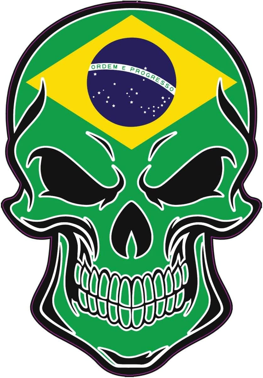 Proud Brazilian Gift Brazil Bumper Sticker WickedGoodz Brazilian Flag Skull Vinyl Decal