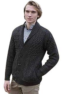 Saol 100 Merino Wool Mens Aran Cable Shawl Collar Cardigan Amazon