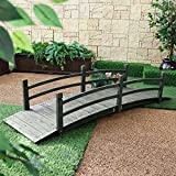 8-Ft Outdoor Garden Bridge with Handraisl in Weather Resistant Dark Wood Stain ;PO#44T-KH/435 H25W3375959