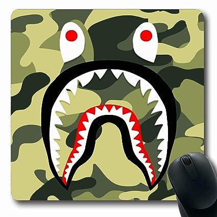 d4e1bd00 Amazon.com : Ahawoso Mousepads Bape Shark Green Camo Oblong Shape ...