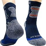 Everlis Unisex Hiking Antibacterial Mid Cushion Athletic Crew Socks Mens Womens