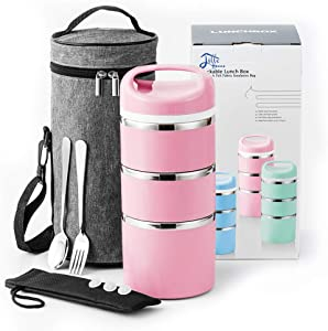 Lille Home Stackable Stainless Steel Thermal Compartment Lunch/Snack Box, 3-Tier Insulated Bento/Food Container with Upgraded Lunch Bag, Portable Cutlery Set and 3 Extra Silicone Seals, 43OZ, Pink