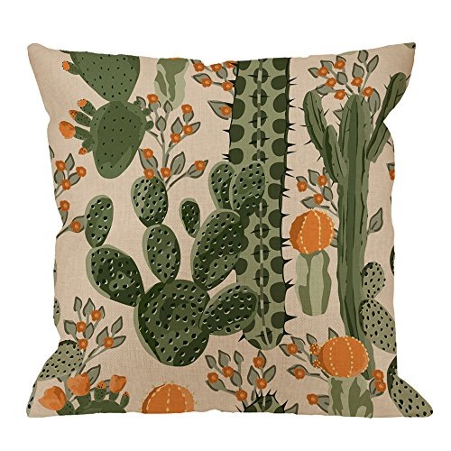 Cactus Pillow Covers Decorative By HGOD DESIGNS Green Succulent Cactus And Orange Flowers Cotton Linen Square Pillow Case for Men / Women / Kids 18x18 inch - Light Green and Orange