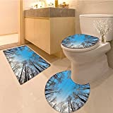 3 Piece large Contour Mat set Leafless Crown of Trees with Clear Air Harmonic Branch Structure Tranqui Twig Fabric Bathroom Rugs Contour Mat Lid Toilet Cover