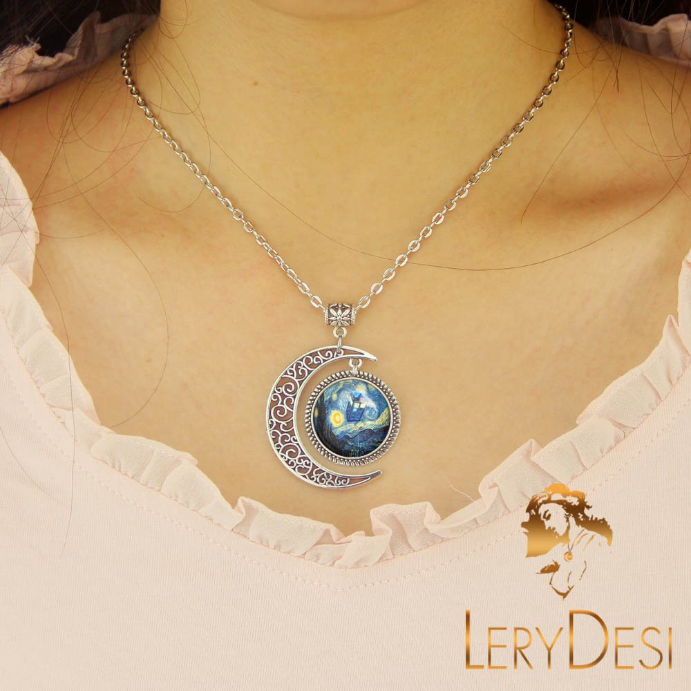 LERYDESI Doctor Who Necklace Tardis Jewelry Van Gogh Oil Painting Pendant Police Box Painter Artists Gift