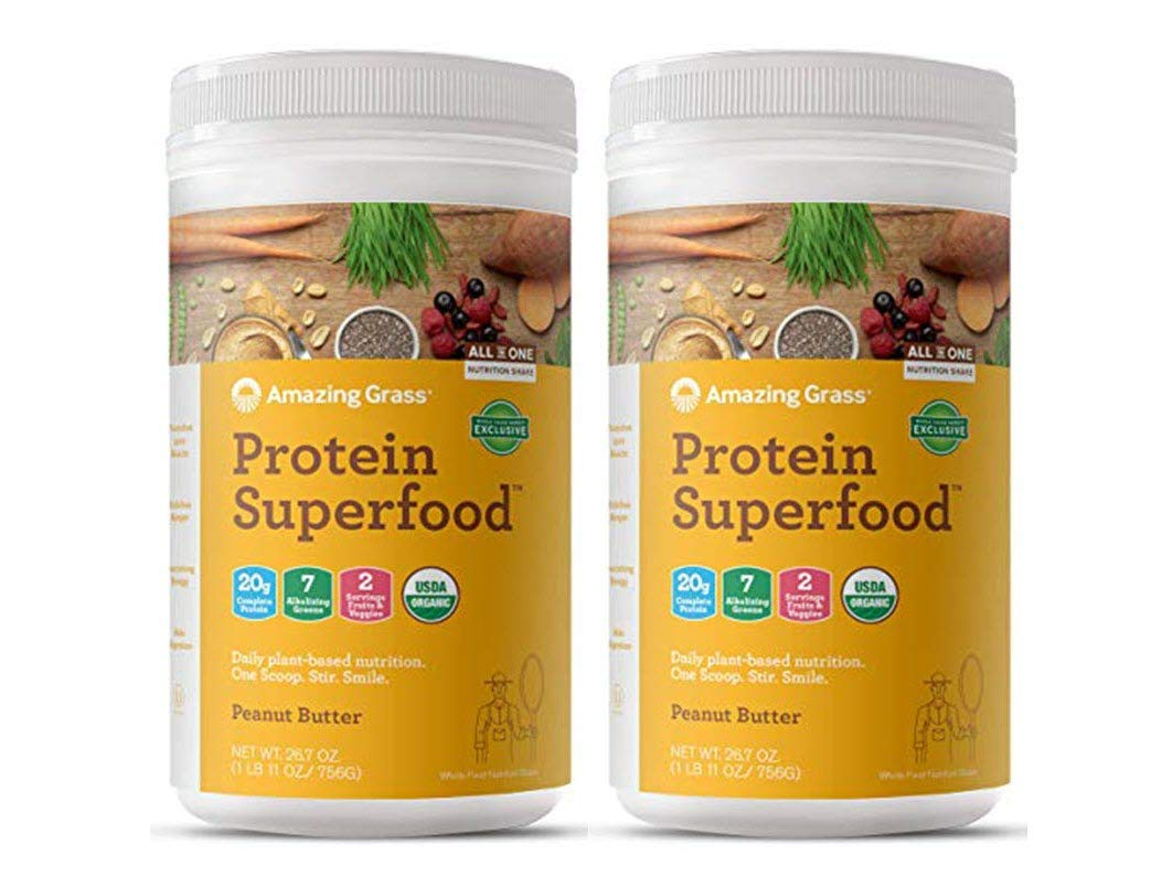 Amazing Grass Organic Plant Based Vegan Protein Superfood Powder, Flavor: Peanut Butter, 18 Servings, 26.7oz, Meal Replacement Shake | 2 PACK Best Value- 36 Total Servings | WFM Exclusive Flavor