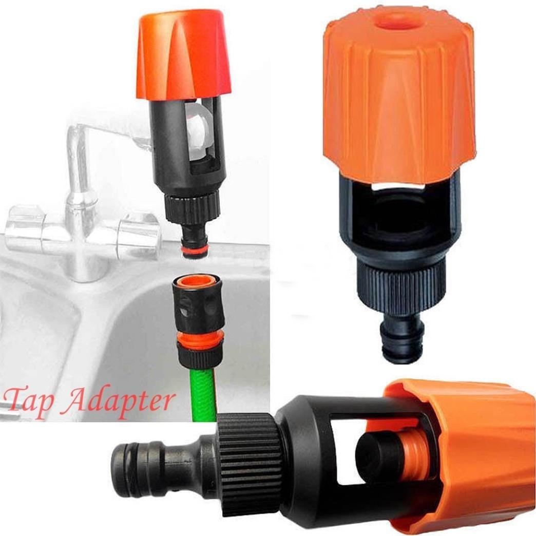 LiPing Universal Tap To Garden Hose Pipe Connector Mixer Kitchen Tap Adapter Orange/Bathroom Faucet Mount Filter (Orange)