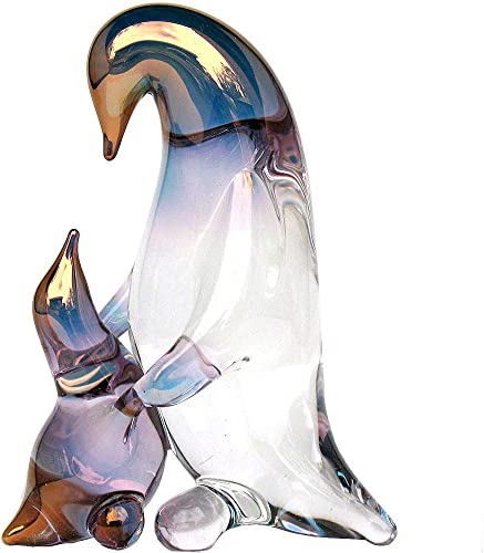 Prochaska Gallery Hand Blown Glass Penguin Mother and Baby Figurine