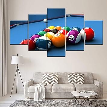 Pintura de la lona mesa de billar deporte 5 Unidades Arte de la ...