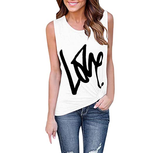 b820a01a14 Love Sleeveless T-Shirt Womens Lady Fashion Soild Print Sexy Vest Fashion  Blouse White