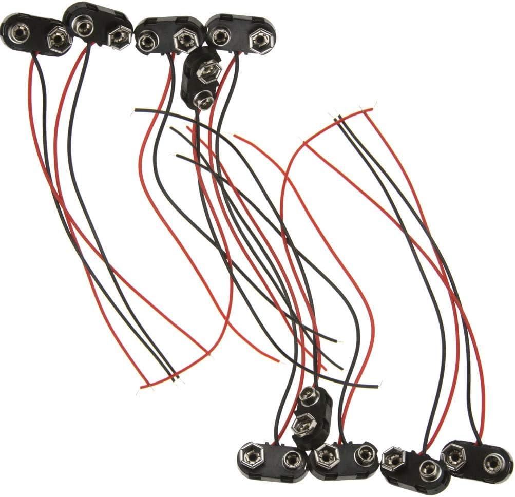 Emma 10 Pinzas para batería de 9 V con Cable de Plomo Duro ABS