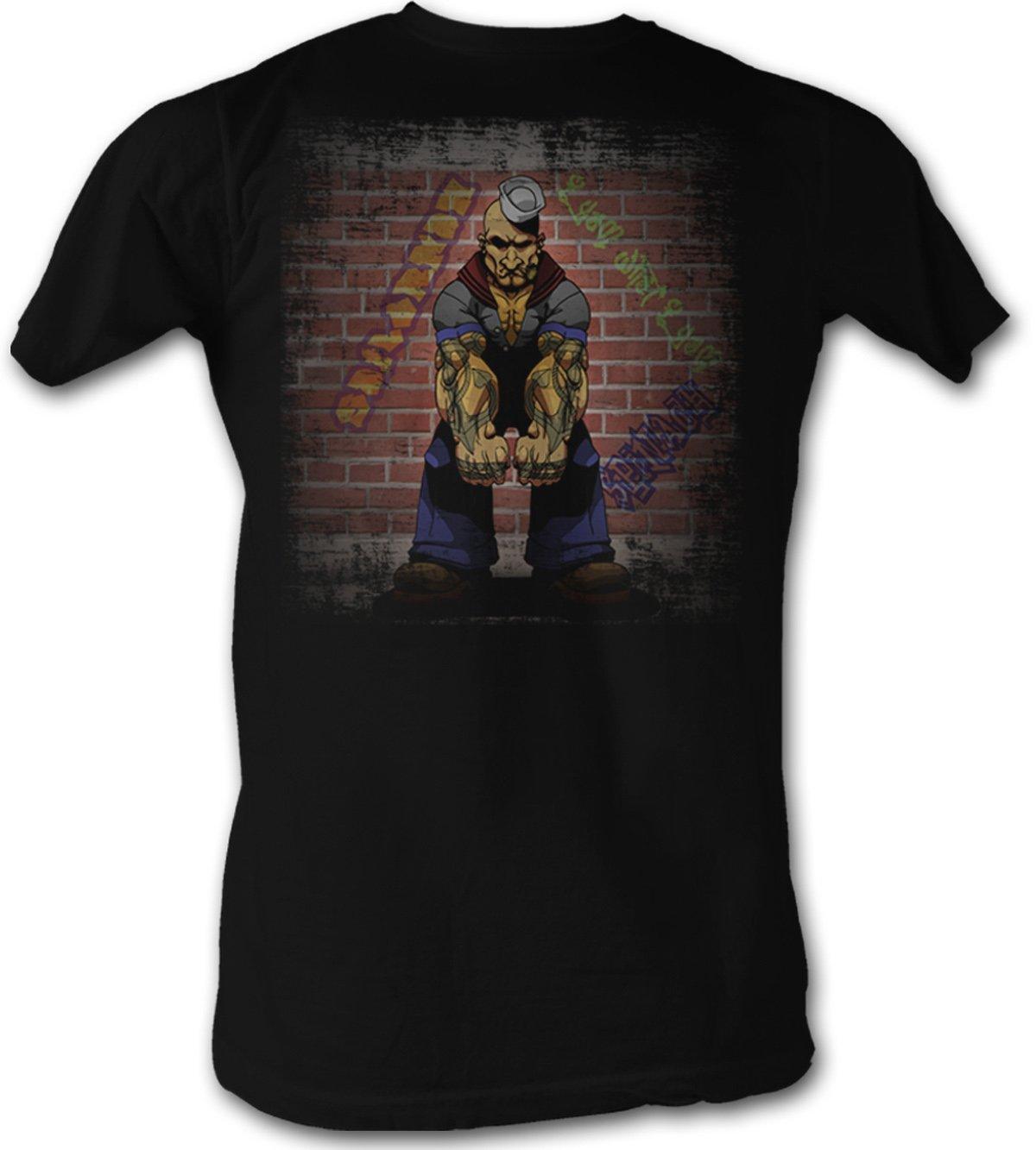 A E Designs Popeye T Shirt Serious Popeye The Sailorman Adult Black T
