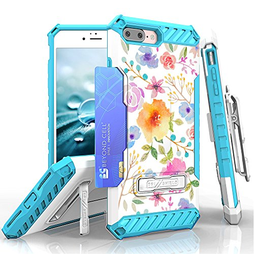 iPhone 8 Plus, iPhone 7 Plus Case, Trishield Durable Rugged Phone Cover with Detachable Lanyard Loop Belt Clip Holster and Built in Kickstand Card Slot - Watercolor Floral from Beyond Cell